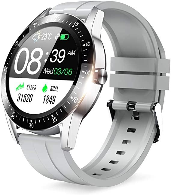 スマートウォッチ 2020最新版 Bluetooth5.0 贈与 活動量計 歩数計 丸型 フルタッチスクリーン 腕時計 多機能 誕生日プレゼント ストップウォッチ 万歩計 IP67防水 スポーツウォッチ スマートブレスレット