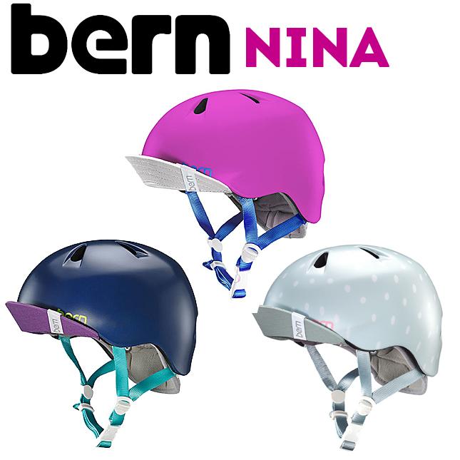 ポップなカラーリングとデザイン キッズ用女の子モデル bern バーン NINA : ニーナ ヘルメット 子供用 数量限定アウトレット最安価格 KIDS用 スケートボード バランスバイク キッズ用 スポーツ 当店一番人気 女の子 自転車