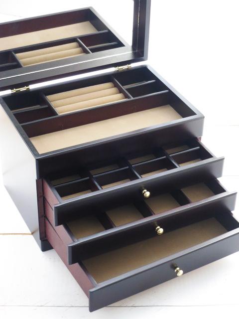 木製 ジュエルケース 3つ引 ジュエリーボックス 日本製 送料無料(沖縄・北海道は除外) アクセサリーケース 宝石箱 画プレゼント