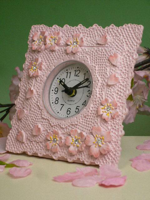 超人気 満開の桜をイメージさせるピンク色が可愛い時計です 時計 再販ご予約限定送料無料 サクラコレクション レジン時計 卓上 目覚まし S3 プレゼント HLS_DU SSR_P2 S5 アラーム付き