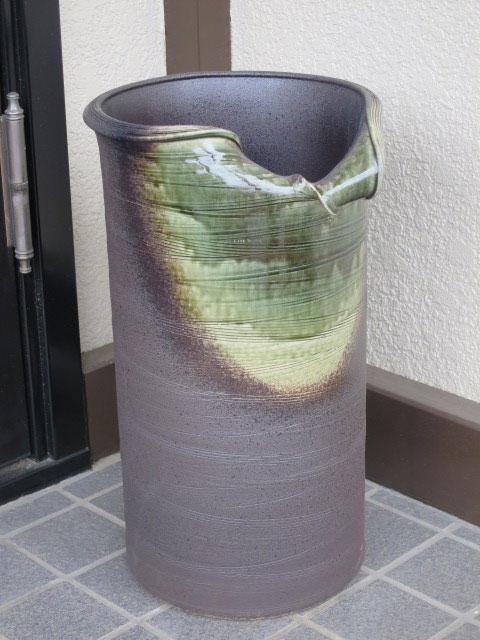 【雨の日特集!】送料無料(沖縄・北海道除外) ( ビードロくし目 傘立て ) 傘立 陶器 信楽焼 しがらき