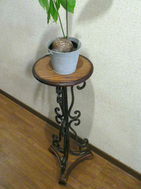 (花台)アイアン 木製 フラワースタンド サイドテーブル アンティーク調【HLS_DU】