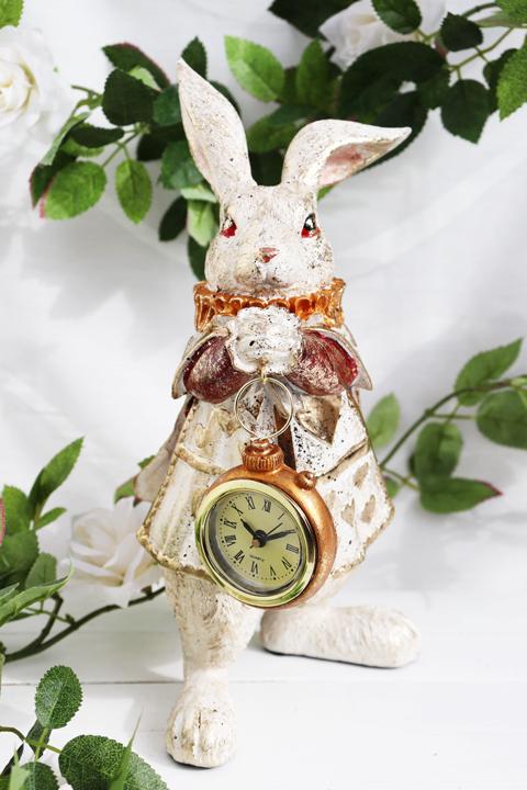 バロックラビット アリス 時計付き 置き物 うさぎ 置物