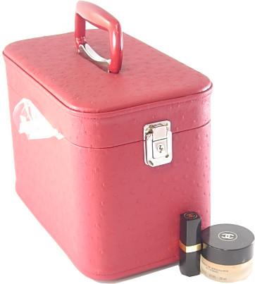 メイクボックス。コスメボックス オーストリッチ30cmワインお化粧入れ