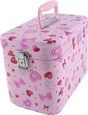 かわいい メイクボックス/コスメボックス, ハート&リボン 30cmピンク。
