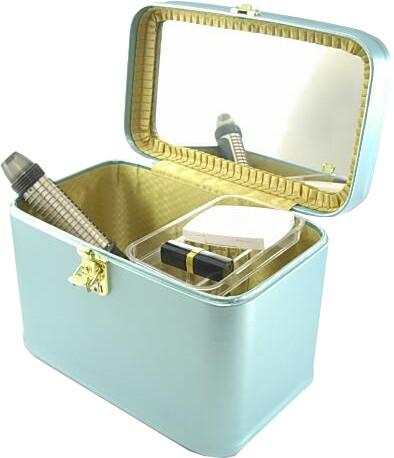 メイクボックス(コスメボックス) パールカーフ33cmヨコ パールスカイ 化粧入れ、メークボックス マイナーチェンジしました。