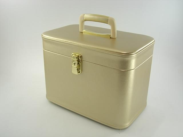 【送料無料】 メイクボックス(コスメボックス) パールカーフ33cmヨコパールゴールド 化粧入れ