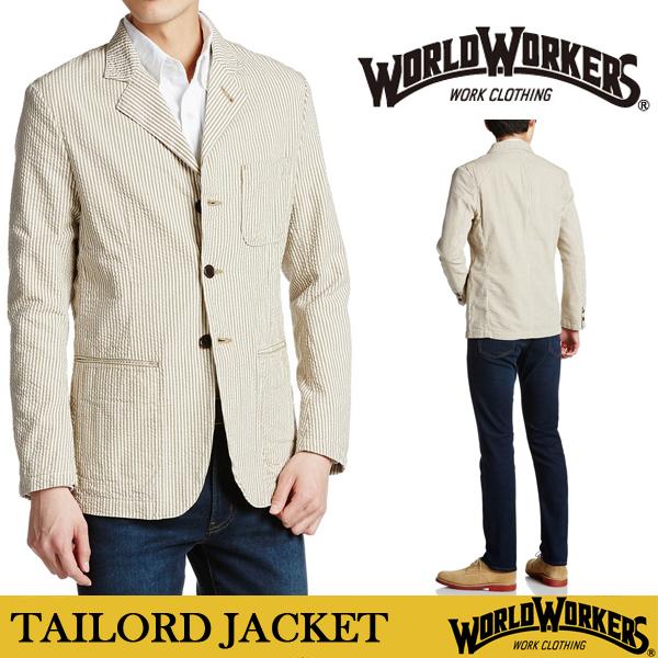 WORLD WOKERS メンズ テーラード ジャケット 日本製 通販 ストライプ 柄 ブラウン ベージュ 国内正規品 ビジカジ ビジネス 正装 カジュアル S M L サイズ おしゃれ かっこいい かわいい 人気 ブランド