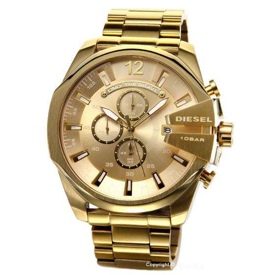 ディーゼル 時計 メンズ DIESEL 腕時計 Mega Chief Chronograph (メガチーフ クロノグラフ) オールゴールド DZ4360 【あす楽】