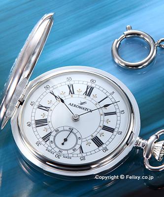 AEROWATCH アエロウォッチ 懐中時計 55629AG01 手巻き シルバー/ホワイト