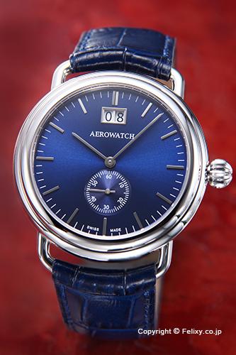 AEROWATCH アエロウォッチ メンズ腕時計 A41900AA02 1942-Elegance (エレガンス) ビッグデイト ラッカードブルー
