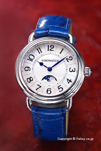 AEROWATCH アエロウォッチ レディース腕時計 A43960AA01 Collection1942 Lady (コレクション1942) ムーンフェーズ ホワイトMOP