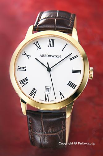 AEROWATCH アエロウォッチ メンズ腕時計 A42972JA01 LES GRANDES CLASSIQUES (グランド クラシック) エナメルホワイトローマン