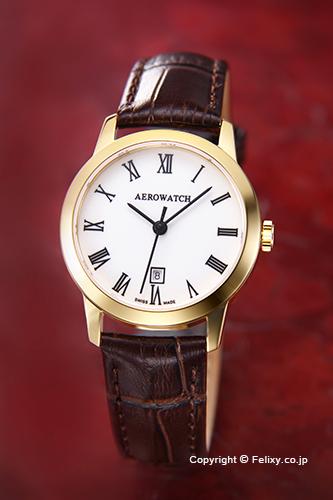 AEROWATCH アエロウォッチ レディース腕時計 A17973JA01 LES GRANDES CLASSIQUES (グランド クラシック) エナメルホワイトローマン
