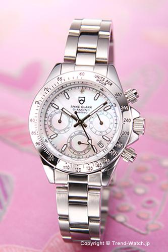 アンクラーク レディース腕時計 AM-1012VD-09 ANNE CLARK Diamond Chrono (ダイヤモンド クロノ) ホワイトシェル(With1Pダイヤ)