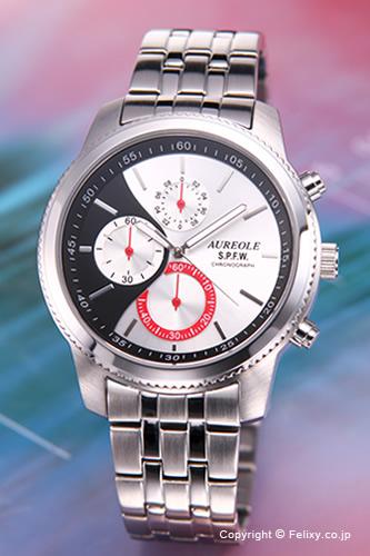 AUREOLE / オレオール 腕時計 S.P.F.W Collection Chronograph (クロノグラフ) シルバー×ブラック SW-575M-4 【オレオール 時計】