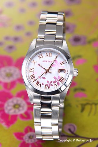 オレオール 時計 SW-591L-D 送料無料 ホワイト AUREOLE 新品未使用 レディース腕時計 サクラ 期間限定特価品