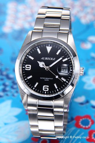 AUREOLE オレオール メンズ腕時計 ブラック SW-591M-A