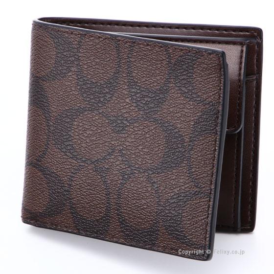 コーチ 財布 F75006 MA/BR COACH シグネチャー 小銭入れ付 二つ折り財布 アウトレットコーチ