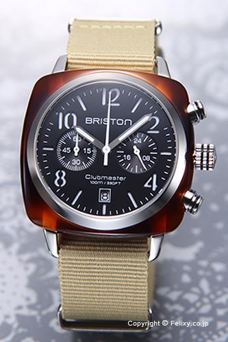 BRISTON ブリストン 腕時計 Clubmaster Chronograph (クラブマスター クロノグラフ) ブラック(トータス)×カーキ 13140.SA.T.1.NK 【あす楽】
