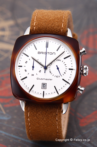 ブリストン BRISTON 腕時計 Clubmaster Vintage Chronograph (クラブマスター ヴィンテージ クロノグラフ) ホワイトシルバー 16140.SA.TV.2.LFCA 【あす楽】