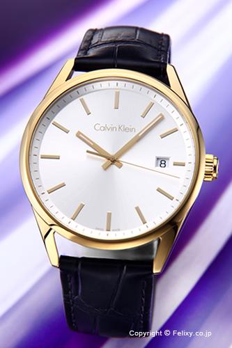 カルバンクライン 時計 メンズ Calvin Klein 腕時計 フォーマリティ シルバー×ゴールド/ブラックレザーストラップ K4M215C6