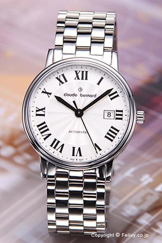 Claude Bernard クロードベルナール メンズ腕時計 3 Hands Auto (3ハンズ オート) シルバー(ブラックローマン) 80085 3 AR 【クロード・ベルナール 時計】【あす楽】