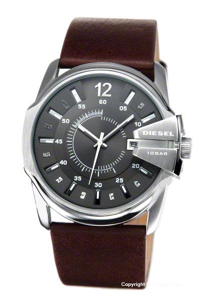 ディーゼル 時計 DIESEL 腕時計 メンズ メタリックグレー(シルバードット)/ブラウンレザーストラップ DZ1206