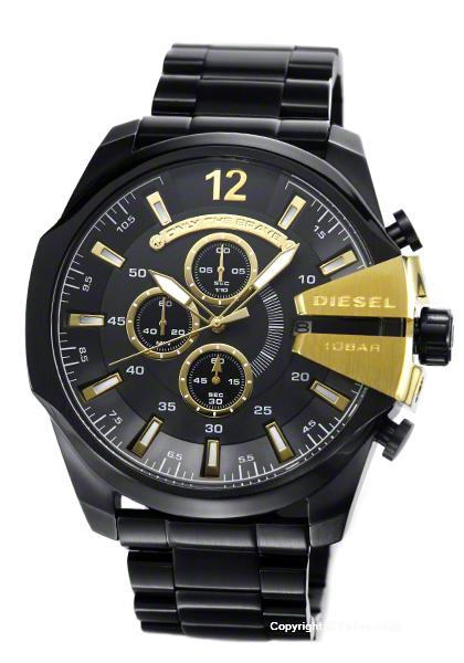 ディーゼル 時計 DIESEL 腕時計 メンズ メガチーフ オールブラック×ゴールド DZ4338 【あす楽】