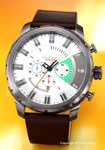 ディーゼル 時計 メンズ DIESEL 腕時計 ストロングホールド シルバー(グリーンポイント)/ダークブラウンレザーストラップ DZ4410 【あす楽】