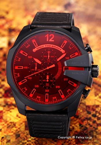 ディーゼル 時計 DIESEL 腕時計 Mega Chief Chronograph レッド×ブラック DZ4460 【あす楽】