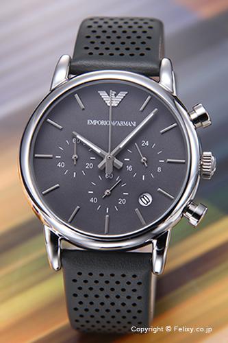 エンポリオアルマーニ 時計 メンズ EMPORIO ARMANI 腕時計 Classic Chronograph Collection (クラシック クロノグラフ コレクション) グレー/グレーレザーストラップ AR1735 【エンポリオ アルマーニ 時計】