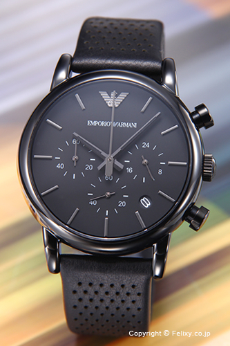 エンポリオアルマーニ 時計 メンズ EMPORIO ARMANI 腕時計 オールブラック AR1737