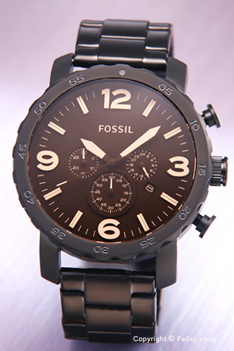 FOSSIL fosshiru手錶人NATE(納特)琥珀色玻璃杯×墊子黑色JR1356