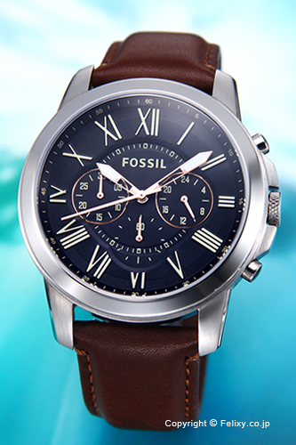 フォッシル 時計 FOSSIL 腕時計 メンズ FS4813 グラント ブラック(ローズゴールド)/ブラウンレザー