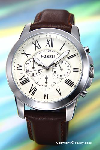 フォッシル 時計 FOSSIL 腕時計 メンズ グラント アイボリー/ブラウンレザーストラップ FS4735