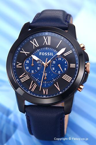 フォッシル 時計 FOSSIL 腕時計 グラント ネイビー(ローズゴールド)×ブラック FS5061