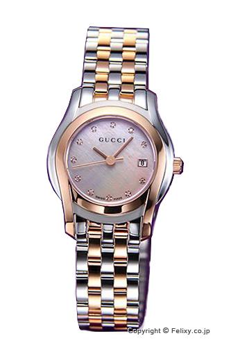 グッチ 時計 GUCCI 腕時計 レディース ピンクパール(With11Pダイヤモンド)×ローズゴールド YA055536