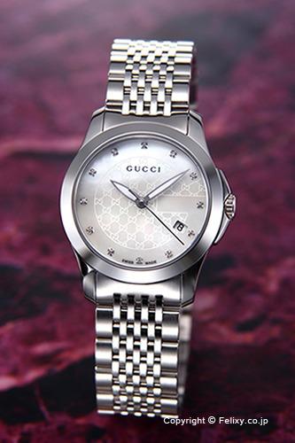 グッチ 時計 GUCCI 腕時計 レディース G-Timeless Collection (G-タイムレス コレクション) ホワイトパール(With12Pダイヤ) スモールバージョン YA126535