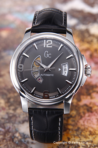 GUESS COLLECTION gesukorekushommenzu手表Classica Automatic Collection(古典的自动的收集)灰色/黑色皮革吊带X84003G5S