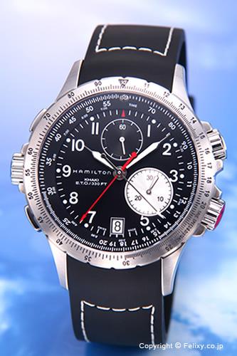ハミルトン 腕時計 HAMILTON Khaki E.T.O(カーキ イーティーオー) ブラック/ブラックラバーストラップ H77612333