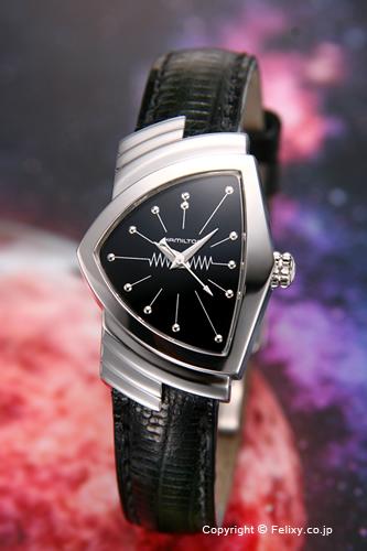 ハミルトン 腕時計 HAMILTON Lady Ventura(ベンチュラ) ブラック/ブラックレザーストラップ レディース H24211732 【あす楽】
