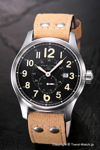 ハミルトン 腕時計 HAMILTON Khaki Officer Auto (カーキオフィサーオート) ブラック/ベージュヌバックレザーストラップ H70655733