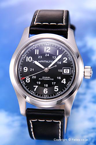 ハミルトン 腕時計 HAMILTON Khaki Field Auto (カーキ フィールドオート) ブラック/ブラックレザーストラップ メンズ H70455733