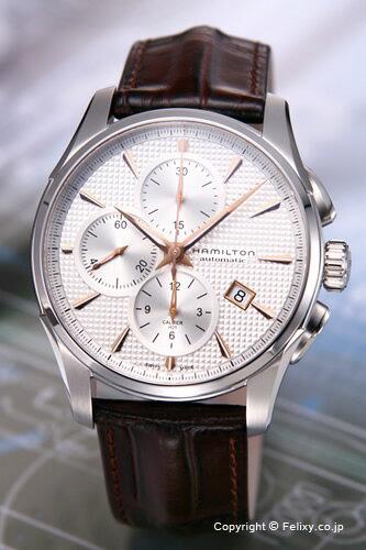 ハミルトン 腕時計 HAMILTON New Jazz Master Auto Chrono (ニュー ジャズマスター オートクロノ) シルバー×ローズゴールド/ブラウンレザーストラップ H32596551