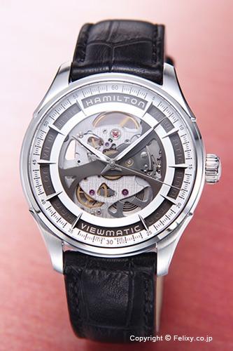ハミルトン 腕時計 メンズ HAMILTON Jazzmaster Viewmatic Skeleton Gent (ジャズマスター ビューマチック スケルトン ジェンツ) レザー H42555751