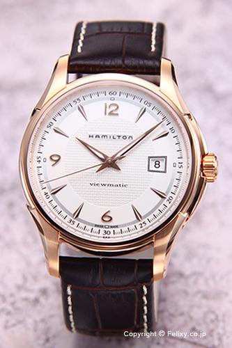 ハミルトン 腕時計 メンズ HAMILTON Jazzmaster Viewmatic (ジャズマスター ビューマチック) シルバー×ピンクゴールド/ダークブラウンレザーストラップ H32645555