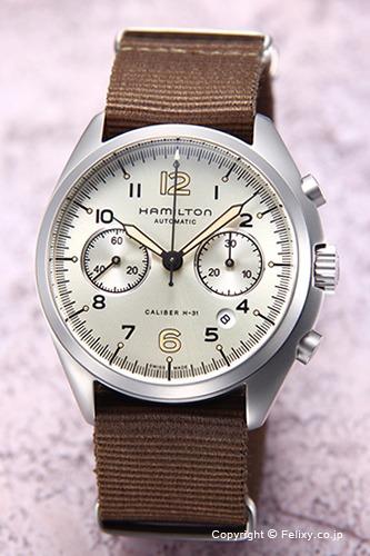 ハミルトン 腕時計 メンズ HAMILTON Khaki Pilot Pioneer Auto Chrono (カーキ パイロット パイオニア オート クロノ) アイボリー/ナイロン H76456955