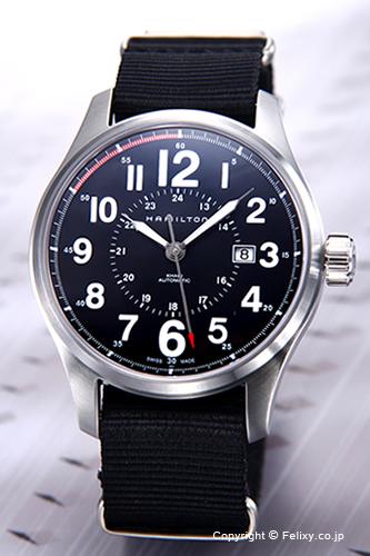 ハミルトン 腕時計 メンズ HAMILTON Khaki Officer Auto(カーキオフィサーオート) ブラック/ブラックナイロンストラップ H70615833 【あす楽】
