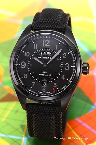 HAMILTON ハミルトン 腕時計 カーキ フィールド デイデイト オールブラック H70695735